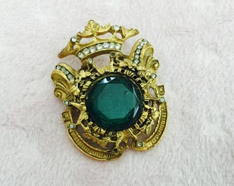 Vintage Edwardian Style Brooch With Emerald Stone