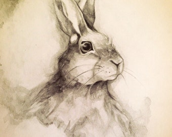 Watercolour hare Print