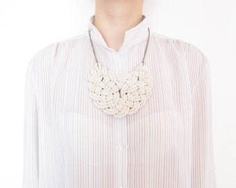 White rope Statement necklace White rope necklace