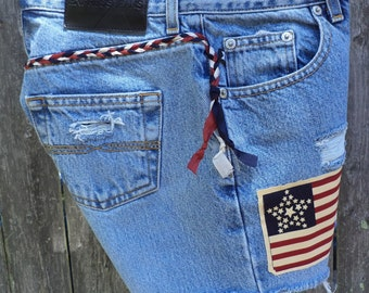 High Waist Denim Distressed Shorts - American Flag Print - Upcycled, Recycled, Repurposed Clothing - Size 3/4