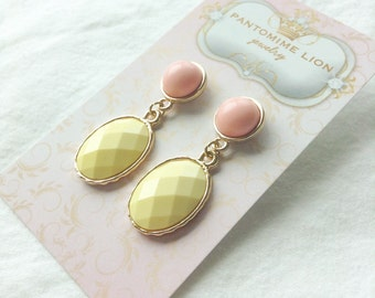 Pink and Yellow Earrings