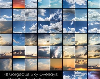 PART II - 48 High Resolution Gorgeous Sky Overlays - For Photographers! Beautiful, Amazing , Must Have