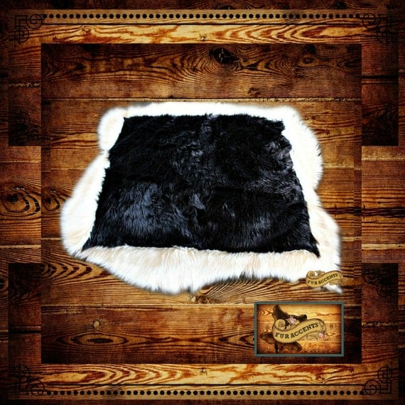 FUR ACCENTS Black Tail Deer Skin Area Rug Faux Fur / Black