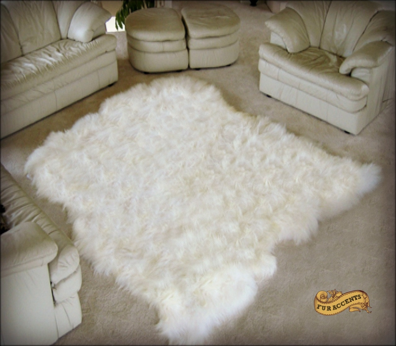 FUR ACCENTS Xtra Large Faux Fur Sheepskin Area Rug / By