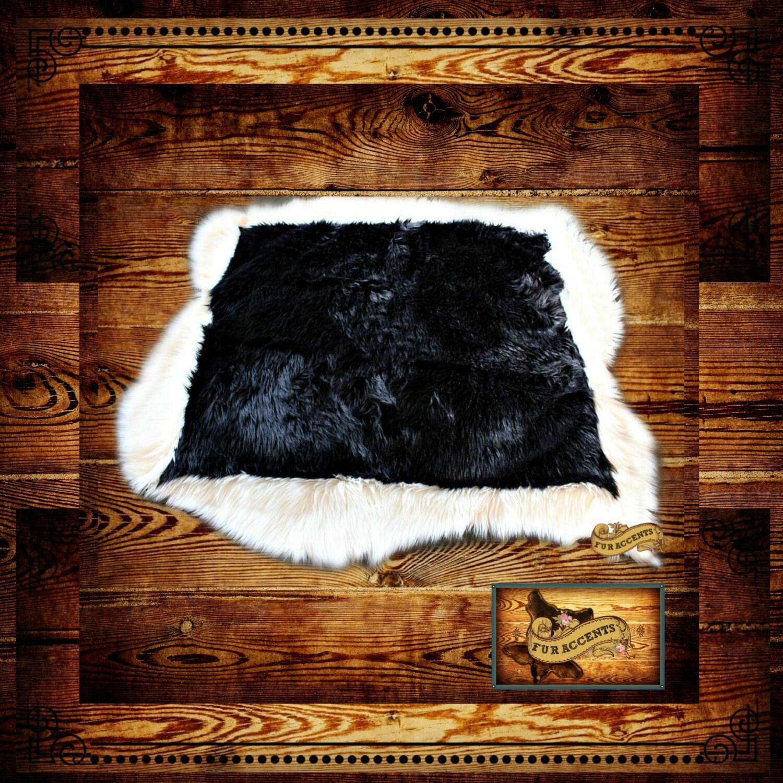FUR ACCENTS Black Tail Deer Skin Area Rug Faux Fur / Black