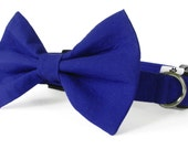 Cobalt blue bow tie and collar - cat and dog bow tie collar set, blue dog bow tie, blue dog collar set, blue cat collar, royal blue