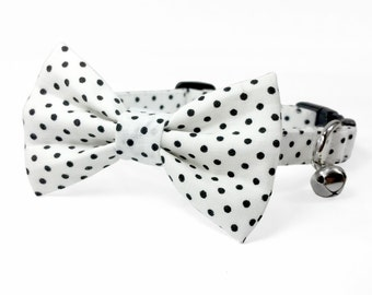 White and black polka dots - cat and dog bow tie collar set, white and black dog collar set, black and white cat collar bow tie