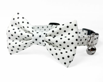 White polka dot dog bow tie collar set & cat bow tie collar set - adjustable with bell (optional) / white with black dots