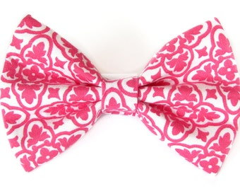 Pink and white - cat bow tie dog bow tie