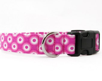 Pink Fisheye dog collar & cat collar - adjustable with bell (optional), fish eye