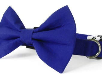 Royal blue cat bow tie collar set & dog bow tie coll set - adjustable with optional bell