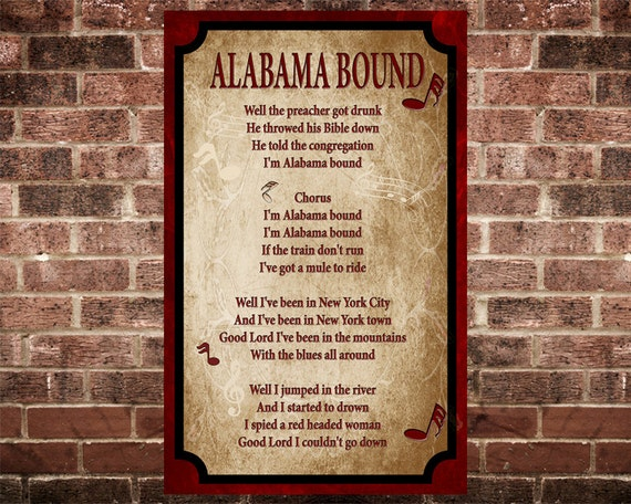 Alabama Bound Song Lyric Home Decor 15 By 24 Inch Giclee Print