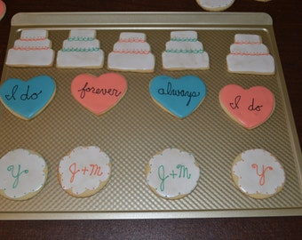Vegan or Gluten Free Wedding or Bridal Shower Cookies - Cake, Hearts, Monogram - 1 dozen sugar cookies decorated