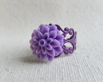 Purple flower ring,Jewelry,Purple dahlia,Victorian Purple,Unique gift