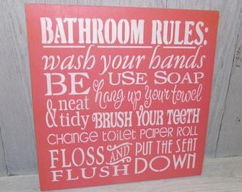 Bathroom Rules, Bathroom Sign, Bathroom Art, Bathroom Decor, Coral Bathroom Decor, Coral Bathroom Wall Art, Wooden Bathroom Sign