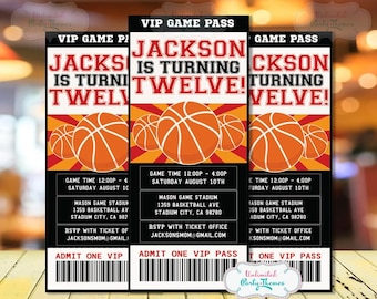 Basketball Invitation - Basketball Party Invitation - Basketball Birthday Party - Black & Red