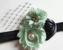 Mint Black Headband - Vintage Russian Veiling - Mint Hair Piece - Mint Black Bows - Polka Dot Headband - Vintage Style - Mint Birthday Girl