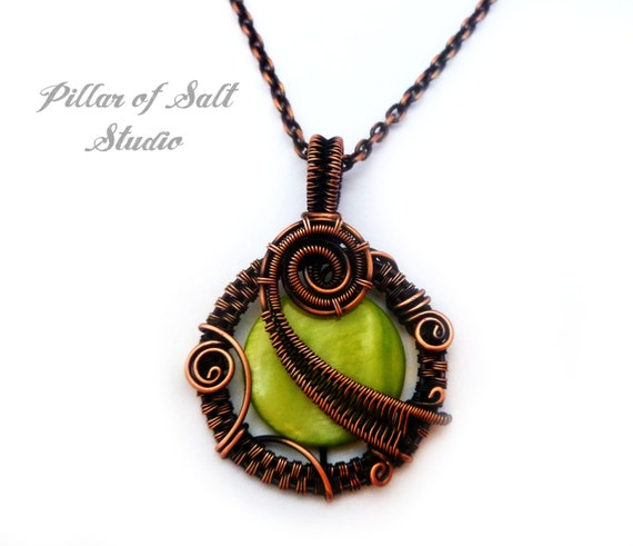 Wire Wrapped pendant copper jewelry / lime green mother of pearl wire wrapped jewelry handmade / woven wire jewelry / earthy copper necklace