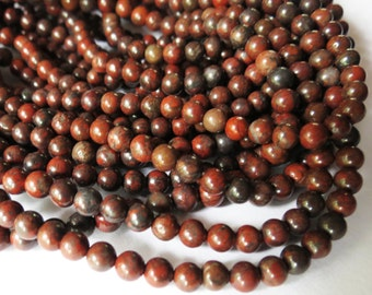 Natural 4mm Round Red Brecciated Jasper Bead Strand, 16 Inch, 4mm Round Red Gemstone Beads, Red Gem Bead Strand, Jewelry Gem Bead Supplies