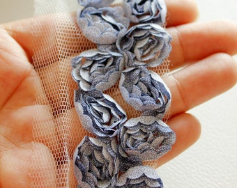 Grey Blue Roses In Two Rows Lace Trim, Approx. 58mm - 030315L85