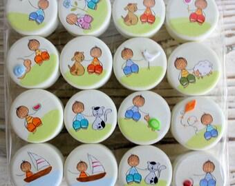 Nursery baby drawer knobs - Kids dresser knobs   - Set of 16