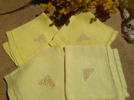 4 Victorian Tea Napkins Yellow Linen French Hand Embroidered Monogram Cut Out #sophieladydeparis