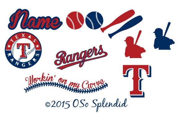 Personalized Cranial Band Texas Rangers Baseball Decals - Baby helmet decalspersonalized cranial band fairy decals just tinkering