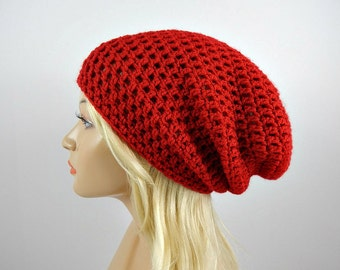 Red Slouchy Beanie, Womens Crochet Slouchy Hat, Slouchy Winter Hat, Red Crochet Beanie, Red Crochet Hat