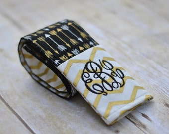 Monogrammed Camera Strap Cover (Black and Gold Arrows)