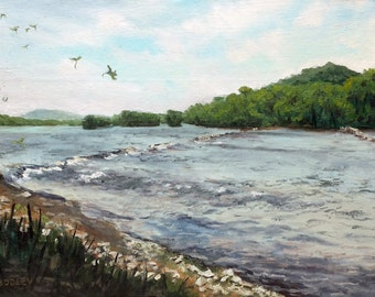 "The Susquehanna, Oil on 12x16"" canvas panel, by Sean Bodley - River Landscape Painting - Pennsylvania Painting - Plein Air Environment Art"
