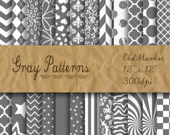 Gray Patterns Digital Paper - Gray Patterned Background -  24 Papers - 12in x 12in - Commercial Use -  INSTANT DOWNLOAD