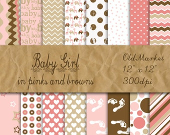 Baby Girl Digital Paper in Pinks and Browns - Digital Paper Pack - 16 Designs - 12in x 12in - Commercial Use - INSTANT DOWNLOAD
