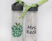 "Personalized Teacher Appreciation Water Bottle - ""It Takes a Big Heart to Shape Little Minds"" - Christmas - End of Year - School - Gift"