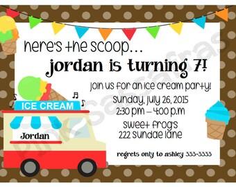 Boy's Ice Cream Truck Birthday Invitation