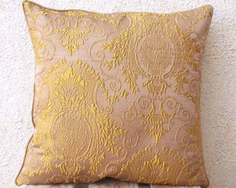 Damask Throw Pillow in a Dull Champagne Pink and Gold 16 x 16 Pillow Cover Cushion Cover Accent Pillow 16 inch  - of2A