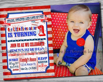 4th of July Invitation / first birthday party / red, white and blue / patriotic first birthday invitation