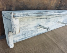 "32"" Navy & White Weathered WOOD Wall SHELF with Pegs ~ Towel Rack ~ Distressed Beach Nautical Cabin Kitchen Shabby Chic Farmhouse Decor"