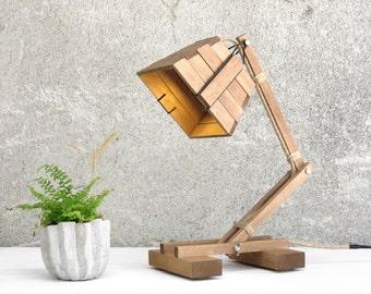Wood Lamp, Adjustable Lamp, Desk Lamp, Reading Lamp, Work Lamp, Industrial Decor, Bedroom Lamp, Boho Decor, Wooden Gift, Kran IX,
