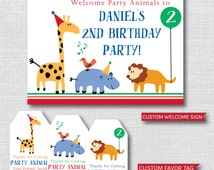 Colorful Animals Birthday Printable Party Package - Zoo or Animal Themed Birthday Party Decor - DIGITAL DESIGN