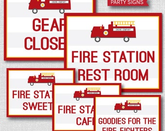 INSTANT DOWNLOAD - Printable Fire Truck Party Signs - Fireman Themed Birthday - Set of Five Party Signs