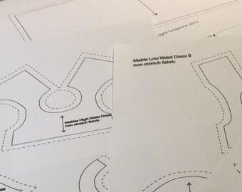 Dress patterns ( High-waist x1 Low-waist x2) for Makies (Digital pdf file) PT-3