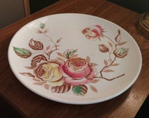 On Sale Vintage Kitchen Nasco Hand Painted Rosalie 9 inch Luncheon or Dinner Plate with Pink and Yellow Roses