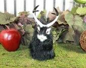 Black Jackalope Rabbit with Horns Easter Bunny Furry Animal Taxidermy Decor