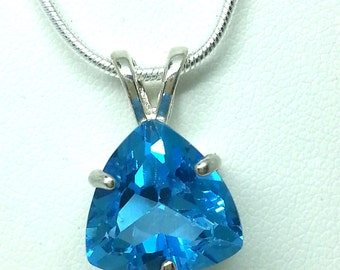 6.75ct Swiss Blue Topaz Trillion Sterling Silver 20 inch Necklace