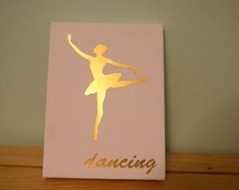 customizable dancer canvas. ballerina. dancing. gold foil canvas.