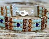 Loomed Beaded Bracelet . South Western . Czech Glass . Artisan Bracelet . Turquoise . Sterling ..