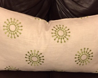 Starburst pure linen embroidered lumbar pillow cover 12x22in