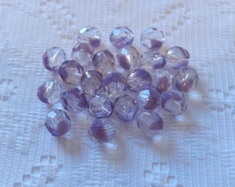 24  Two-Toned Lavender Purple & Crystal Clear Opal Faceted Czech Glass Beads  8mm