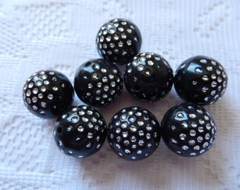 8  Jet Black & Silver Dotted Round Ball Acrylic Beads  17mm