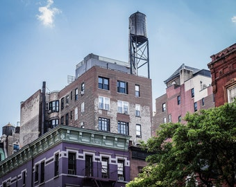 new york photography new york city decor nyc photography upper west side  architecture bridges water tower large wall art colorful buidlings